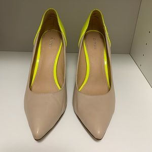 Express nude & neon green heels